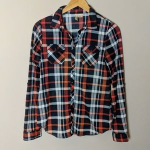 Black Red White Button Down Plaid Shirt sz m